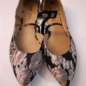 D'orsay flats Tapestry shoes fabric floral Women's